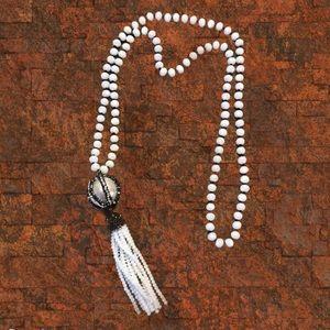 Estrella & Luna Glass Bead Necklace Pave Tassel 32